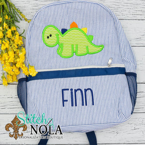 Personalized Seersucker Backpack with Dinosaur Applique, Seersucker Diaper Bag, Seersucker School Bag, Seersucker Bag, Diaper Bag, School Bag, Book