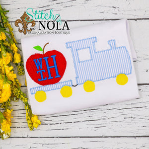 Personalized Back to School Train with Apple Applique Shirt