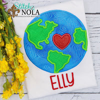 Personalized Earth Applique Shirt