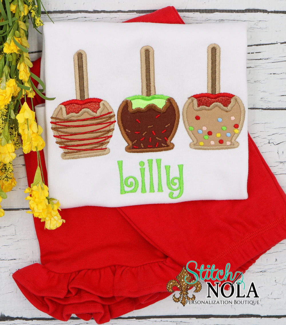 Personalized Candy Apple Trio Applique Shirt