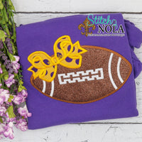 Personalized Purple and Gold Football with Bow Colored Garment