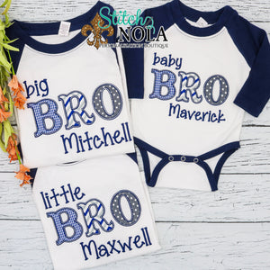 Personalized Big Little & Baby Bro Applique Shirt