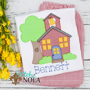 Personalized Back to School School House Sketch Shirt