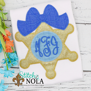 Personalized Sheriff Star with Bow & Monogram Applique Shirt