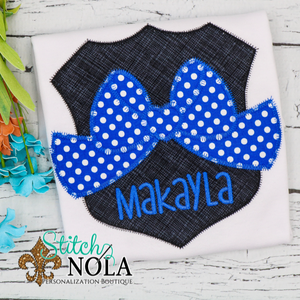 Personalized Blue Line Police Badge with Bow Applique Shirt
