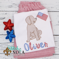 Personalized Lab Puppy With American Flag Sketch Shirt