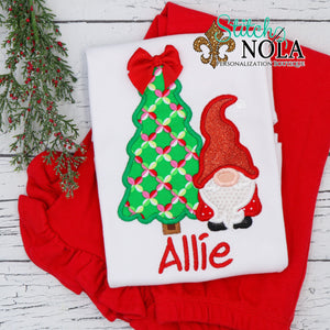 Personalized Christmas Santa Gnome with Tree Applique Shirt