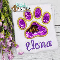 Personalized Flip Sequin Paw Print Applique Shirt