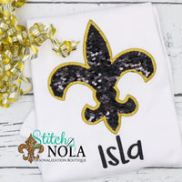 Personalized Flip Sequin Fleur de Lis Applique Shirt