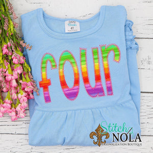 Personalized Birthday Rainbow Number Applique Colored Garment