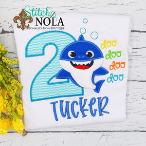 Personalized Birthday Baby Shark Appliqué Shirt