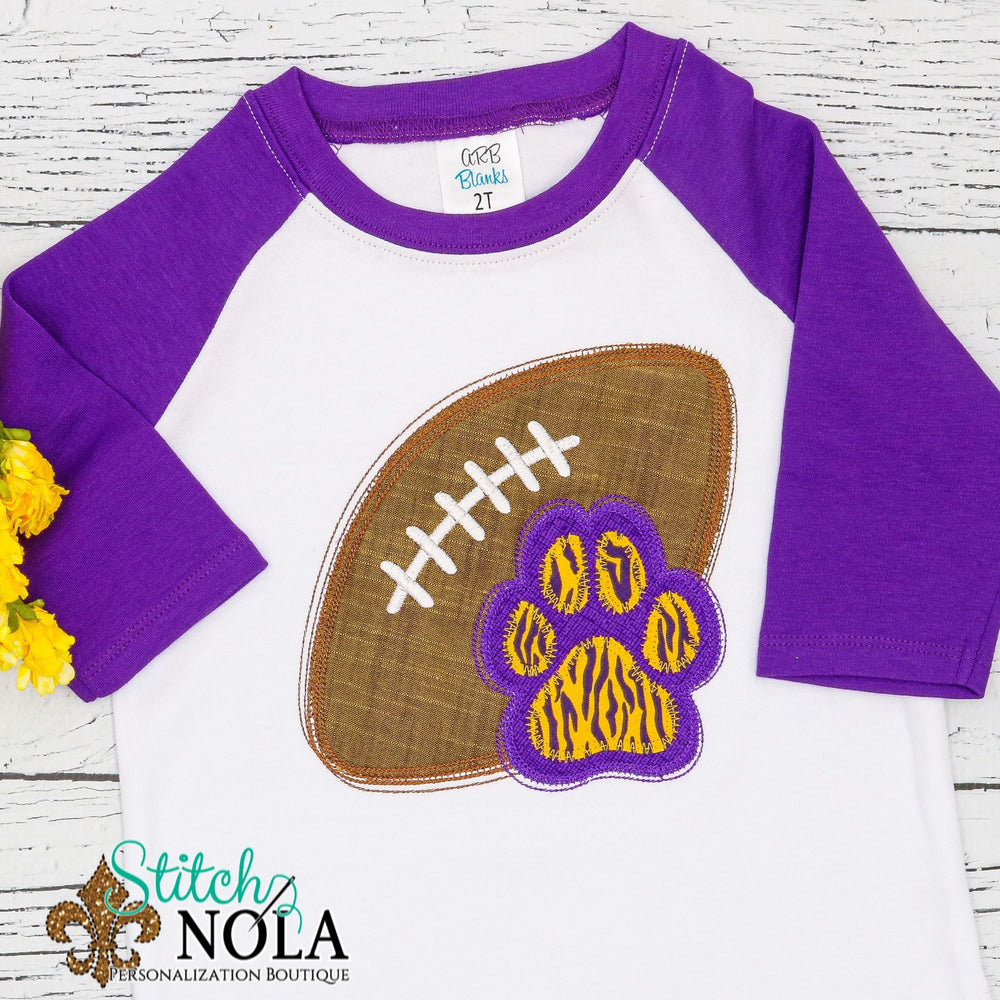 Personalized Football With Paw Print Applique Shirt