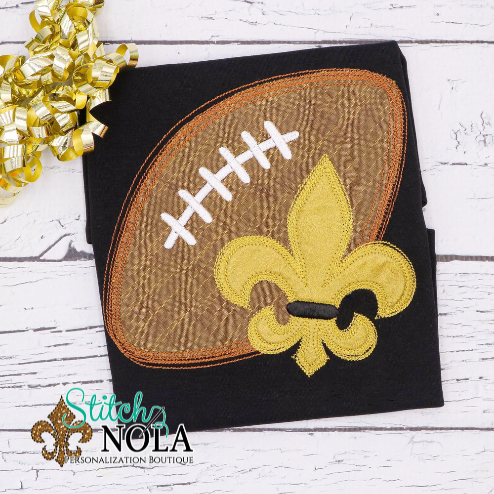 Personalized  Football With Fleur De Lis Applique Colored Garment