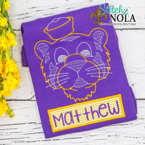Personalized Vintage Tiger with Name Banner Colored Garment
