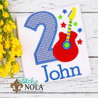 Personalized Rock Star Birthday Appliqué with Guitar Shirt