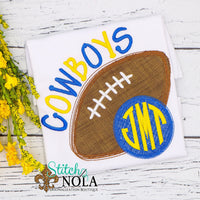 Personalized Football With Monogram Applique Shirt