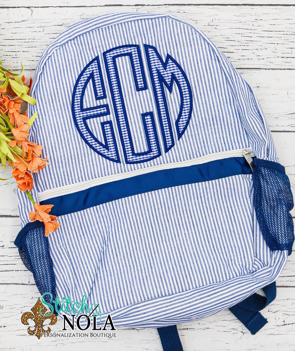 Personalized Seersucker Backpack with 3 Letter Monogram Applique, Seersucker Diaper Bag, Seersucker School Bag, Seersucker Bag, Diaper Bag, School Bag, Book