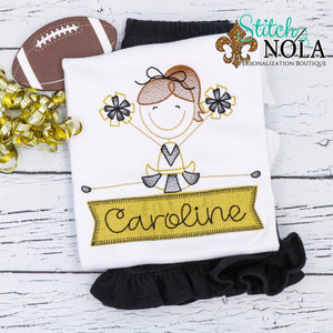 Personalized Toe Touch Cheerleader With Banner Appliqué Shirt