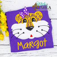 Personalized Purple and Gold Tiger on Colored Garment