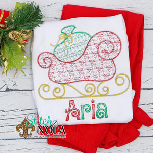 Personalized Christmas Santa's Sleigh Sketch Shirt