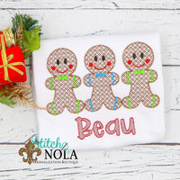 Personalized Christmas Gingerbread Boy Trio Sketch Shirt