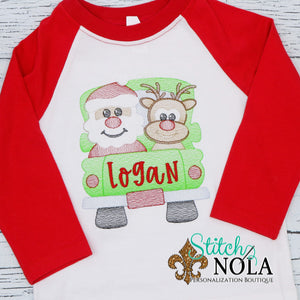 Personalized Christmas Truck with Santa & Reindeer Sketch Shirt