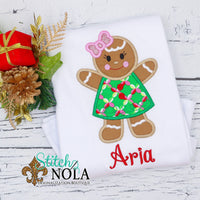 Personalized Christmas Girl Gingerbread Cookie Applique Shirt