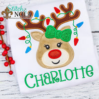 Personalized Christmas Reindeer with Lights Applique Shirt