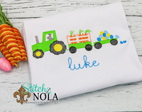 Personalized Easter Tractor With Carrots & Eggs Sketch Shirt