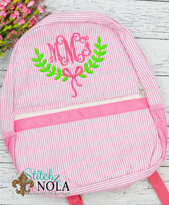 Personalized Seersucker Backpack with Wreath Monogram, Seersucker Diaper Bag, Seersucker School Bag, Seersucker Bag, Diaper Bag, School Bag, Book