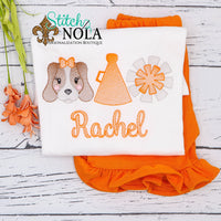 Personalized Orange and White Hound Football Trio Sketch Shirt