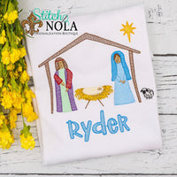Personalized Christmas Jesus in Manger Sketch Shirt