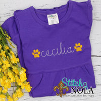 Personalized Purple and Gold Paw Sketch on Colored Garment