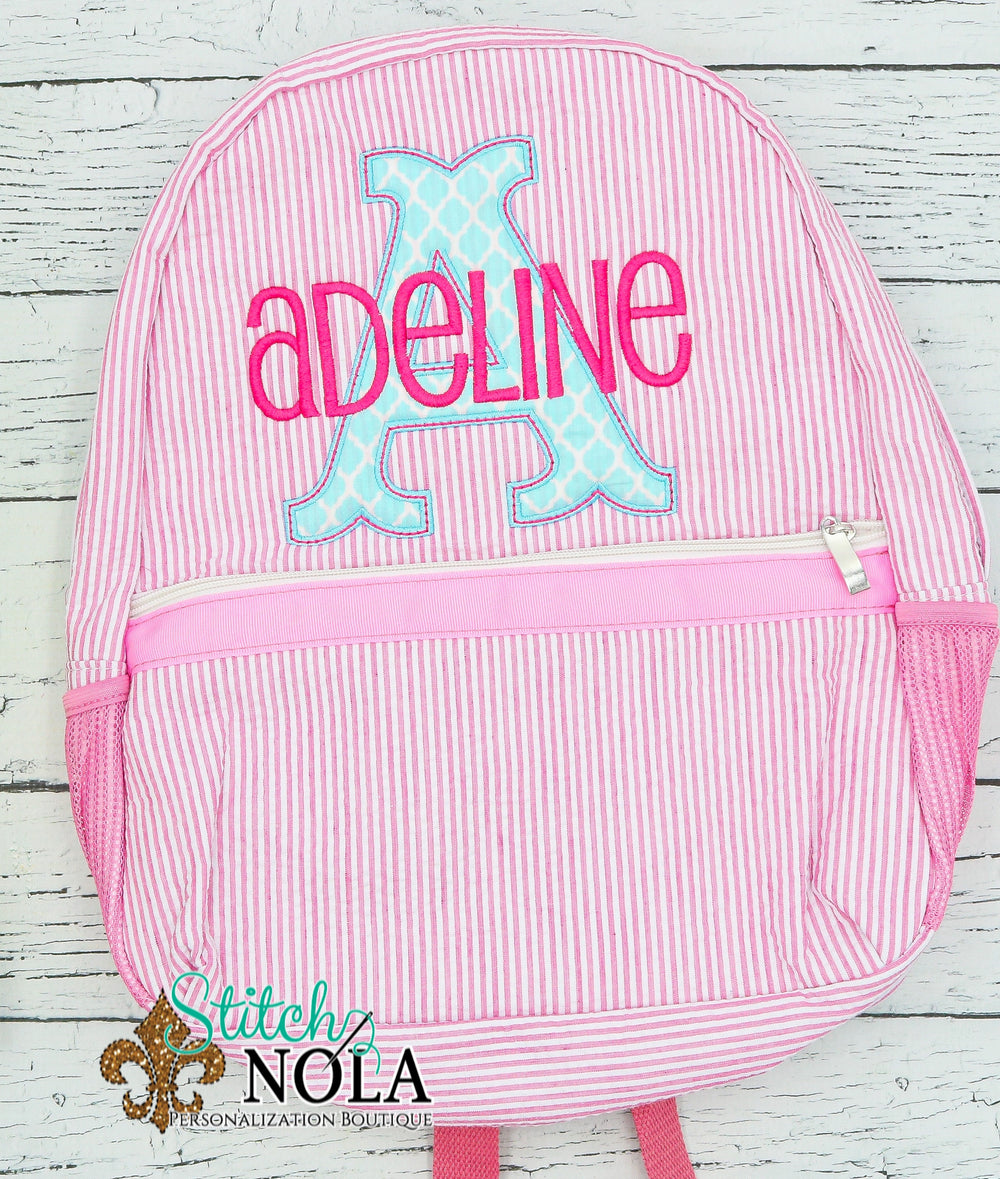 Personalized Seersucker Backpack with Letter Applique, Seersucker Diaper Bag, Seersucker School Bag, Seersucker Bag, Diaper Bag, School Bag, Book