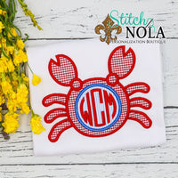Personalized Crab Monogram Applique Shirt