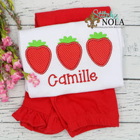 Personalized Strawberry Trio Applique Shirt