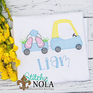Personalized Coupe Pulling Easter Bunny in Wagon Sketch Shirt