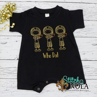 PERSONALIZED BLACK AND GOLD FOOTBALL PLAYER TRIO SKETCH ON COLORED GARMENT