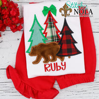 Personalized Christmas Tree Bunch with Bear Applique Shirt