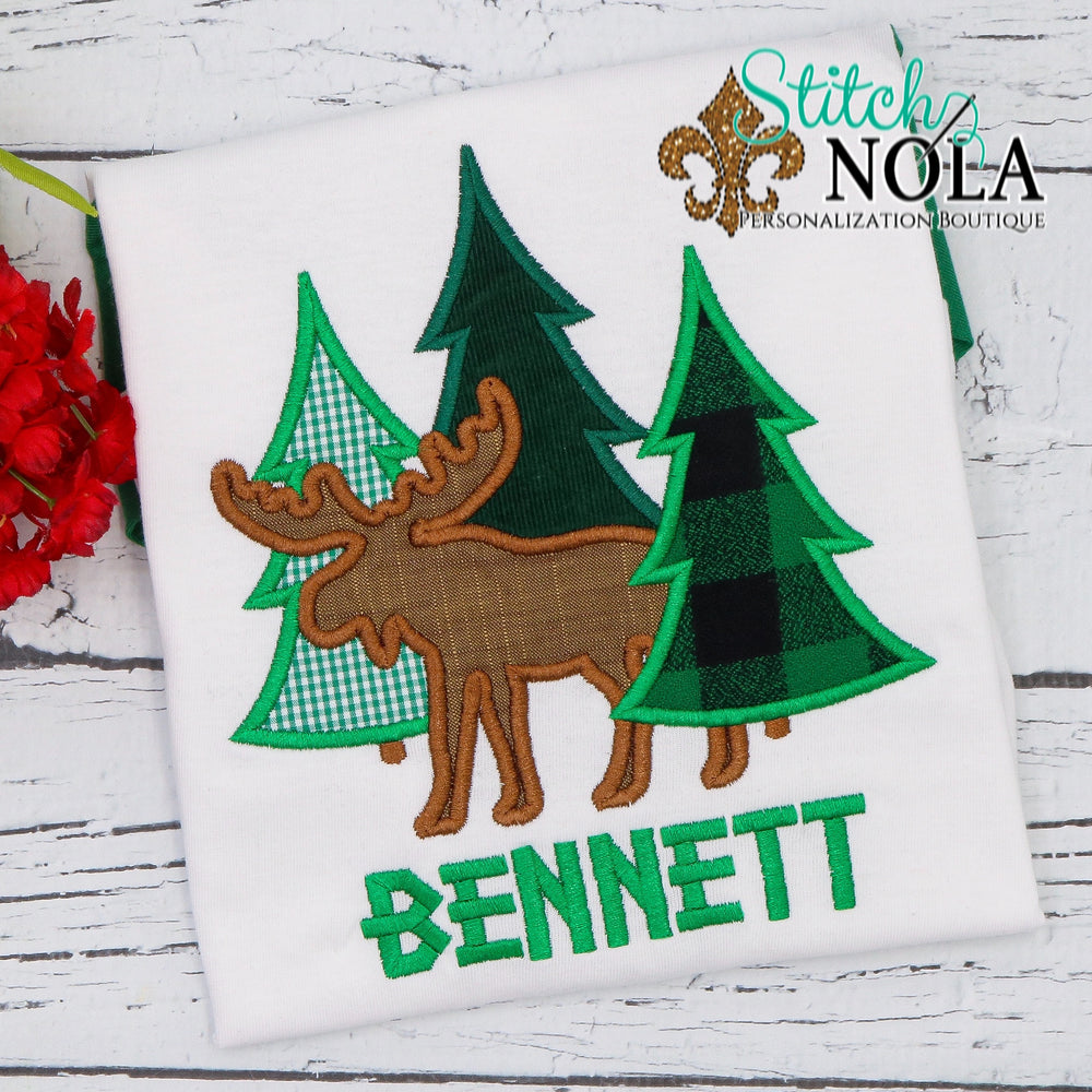 Personalized Christmas Tree Bunch with Moose Applique Shirt