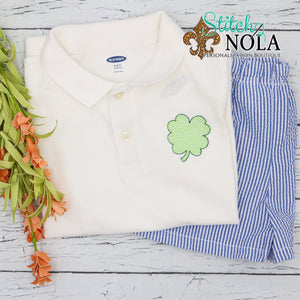 Personalized St. Patrick's Day Collared Shirt with Clover