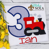 Personalized Birthday Seersucker Train Appliqué