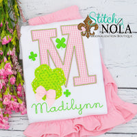 Personalized St. Patrick's Day Alpha with Bow Appliqué Shirt