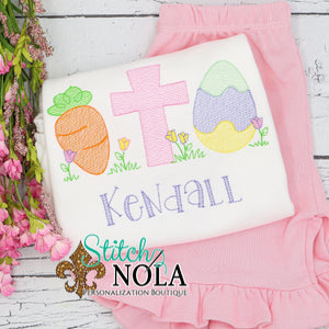 Personalized Easter Cross Carrot & Egg Sketch Shirt