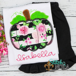 Personalized Floral Pumpkin Applique Shirt