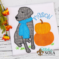 Personalized Dog with Pumpkins Applique Shirt