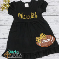 Personalized Black and Gold Football with Bow on Colored Garment