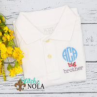Personalized Big Bro with Monogram Collared Shirt