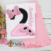 Personalized Birthday Minnie Mouse Appliqué Shirt