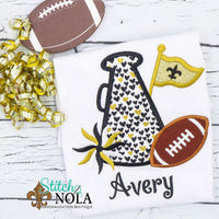 Personalized Black & Gold Heart Cheerleader Megaphone Appliqué Shirt